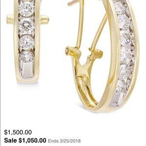 1 carat channel set diamond hoops